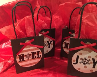 Christmas Holiday Mini Paper Gift Bags (Set of 8)