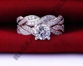 Regaalia Jewels 2.25CT Round Diamond 2 Pcs Halo Ring set Wedding Band in 14k White Gold Over