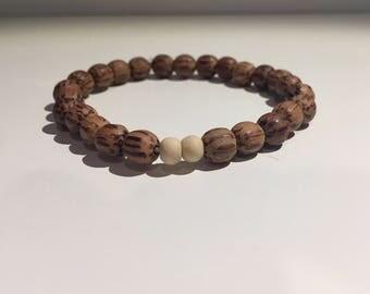 Natural Bohemian Hand Carved Wood Stretchable Handmade Bead Bracelet