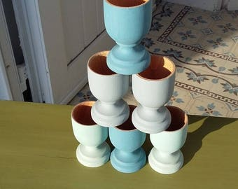 6 eco design hand painted wooden egg cups.