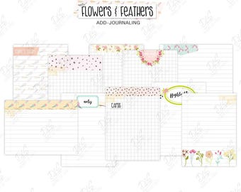 """Scrapbook/ Pocket Page Journaling Cards """"Flowers & Feathers"""""""