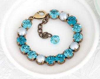 Light Teal Bracelet, Swarovski Bracelet, Aqua Crystal Bracelet, Pearl Bracelet Aqua Rhinestone Bracelet Tennis Teal Rhinestone Jewelry Detta