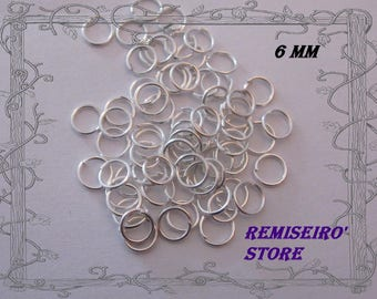 Set of 50 rings 6 mm silver without nickel