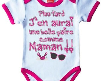 """Pink Bodysuit humor original """"later I'll have a nice pair as MOM"""""""