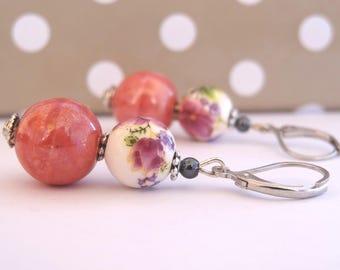 Purple flowers and pink dangle earrings