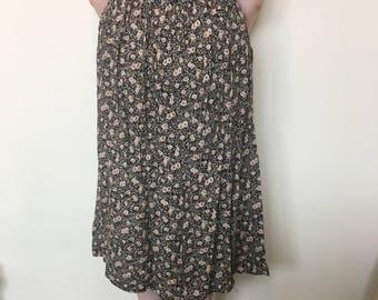 Vintage 80s Floral Midi Skirt