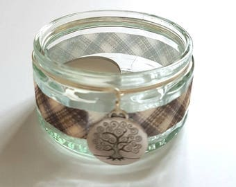 Glass Ramekin Brown Tartan Tealight Candle Holder.