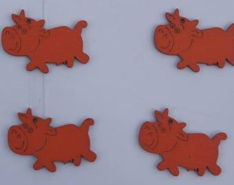SET of 4 ORANGE wooden cows +/-4 x 2 CM