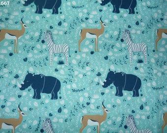 Fabric C667 Rhino/Zebra/gazelle on blue coupon 35x50cm