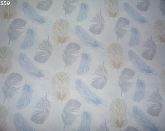 Fabric C559 feathers blue/grey/beige coupon 35x50cm