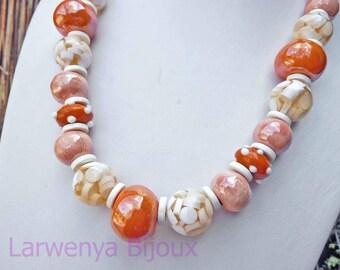 Ceramic necklace - Orange and Tangerine.