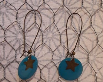 Dangling earrings, peacock blue enamel sequin