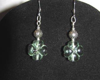 Green Fluorite clover earrings