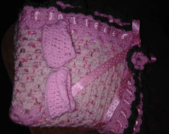 Sweet pink and white baby blanket and matching booties