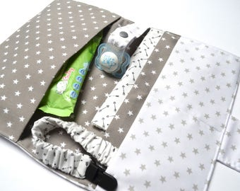 Diaper and napkins holder with light and dark stars