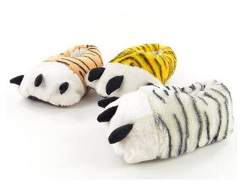Mens Boys Unisex Tiger Paw Novelty Feet Fun Slippers Animal Comedy Winter Xmas