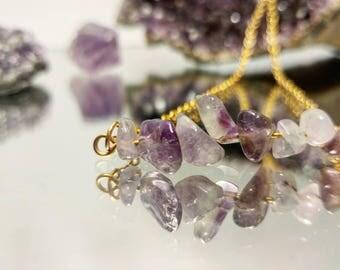 Minimalist Amethyst Bar Necklace