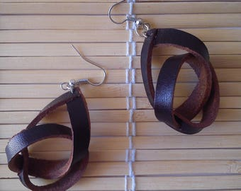 """Earrings """"hartotto brown leather"""""""