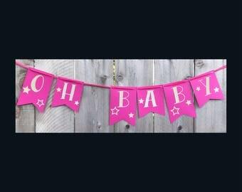 Oh Baby Banner | Baby Banner | Baby Shower Banner | Baby Girl | Baby Girl Banner