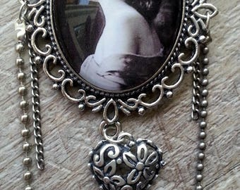 Black and white portrait romantic brooch