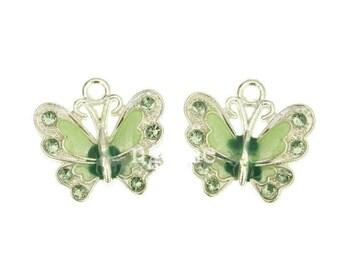 21.5x21 mm Green enamel silver Butterfly charm
