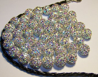 White ab shamballa 10mm making beads
