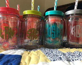 Monogramed Mason Jar Drink Cup