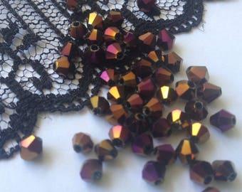 SWAROVSKI Crystal purple IRIDESCENT 4 mm (H4R) Crystal beads 10 beads