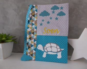 White turtle personalized health book and his bookmark