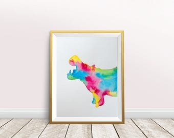 Hippo Watercolor, Print,Hippo Art Print,nursery decor,watercolor painting,instant download, Wildlife,Hippo wall art,animal art, Hippo art