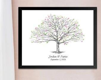 Elm Tree Thumbprint Guestbook Print, Fingerprint Guest Book, Wedding, Bridal Shower, Family Reunion, Alternative Sign in  (8 x 10- 24 x 36)