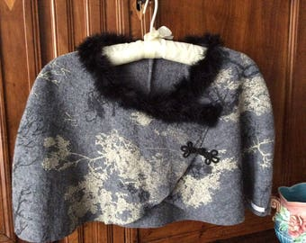 Small ivory printed grey boiled wool cape
