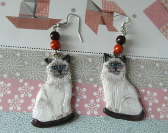 """Siamese cats"" earrings made of cold porcelain and acrylic paint"