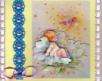 """card 3D """"baby in a blue rose"""""""