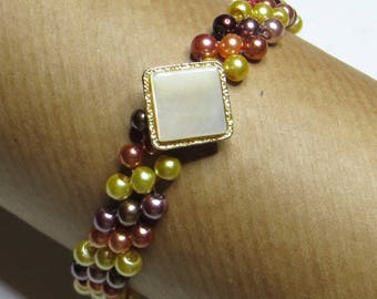 Square White Pearl bracelet - #241