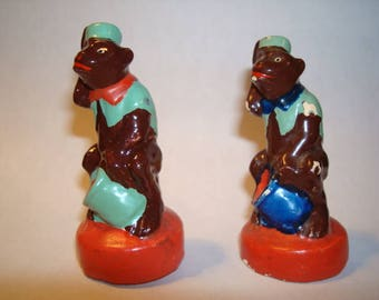 Vintage Miniature Clay / Pottery Monkey Figurines Estate Find