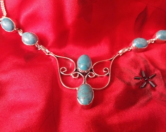 "Sterling Silver 16-18"" Santa Rosa Turquoise Filgree Necklace"
