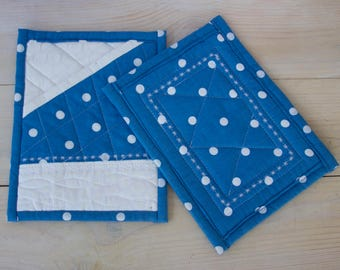 Set of 2 Pot Holders, Quilted Pot Holders, Hot Pads, Blue Pot Holders, Shower gift,