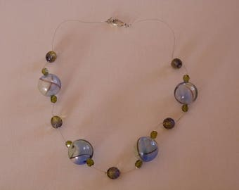 LARGE BLUE AND GREEN BEADS NECKLACE