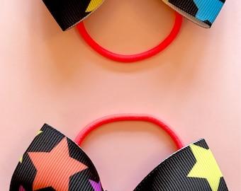 Star pigtail hair bows