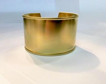 Bracelet manchette en laiton brut à rebord de 32mm pour créations de bijoux