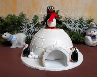 Igloo with his Penguin Christmas centerpiece or decoration