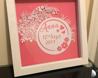 Flower Birth Announcement paper art