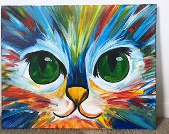 Acrylic Colorful Cat Painting on Canvas