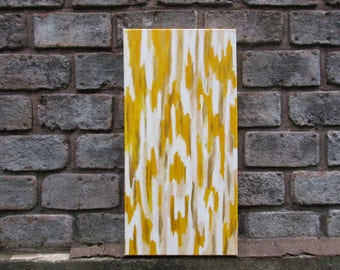 Yellow and Gold Chevron Print Painting