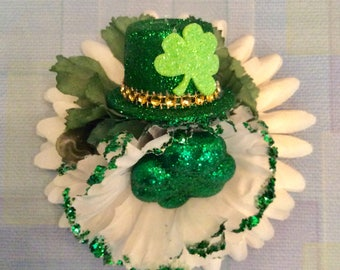 Pinup Retro St Patrick's Day Hair Flower Clip Rockabilly