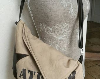 Shoulder bag vintage Tote Bag, cotton/linen canvas with vintage writing. Can be worn two ways