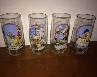 Coke Norman Rockwell Coca-Cola Drinking Glasses - Set of 4