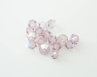 Lot 16 x Pearl spinning swarovski crystal light amethyst AB 4 mm (l490)