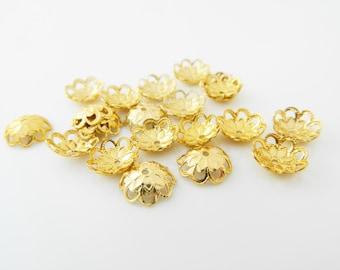40 x 10mm (l403) gold tone bead caps